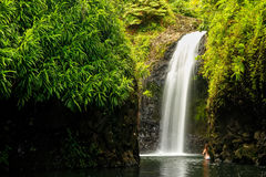 Wainibau Waterfall at the end of Lavena Coastal Walk on Taveuni Stock Images