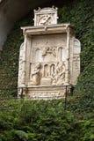 Wainscots - tiling показывая сцену рождества в саде дворца Monte тропическом, Фуншале, Мадейре Стоковые Изображения RF