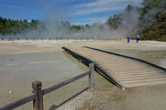 Waiotapu Geothermal Wonderland boardwalk, New Zealand. This is a picture of the boardwalk over very hot volcanic ground. The walk is only a few miles long and Stock Image