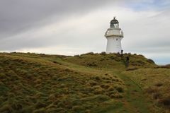 Waipapa point lighthouse, New Zealand stock image