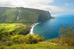 Waipio在夏威夷大岛的谷监视 库存照片