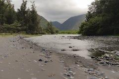 Waipio谷和河,大岛,夏威夷 库存照片