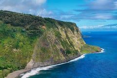 Waipio dalsikt i Hawaii Arkivbilder