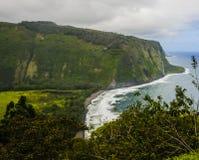 Waipio dalutkik på den stora ön av Hawaii Arkivbild