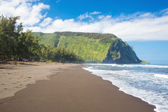 Waipio Valley beach. Beautiful Waipio Valley on the big island of Hawaii, black sand beach Royalty Free Stock Photo