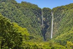 Waipio valt Groot Eiland Hawaï Stock Foto's