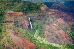 Waipoo Falls, Waimea Canyon, Kauai. Aerial view of Waipoo Falls in the Waimea Canyon on Kauai, Hawaii, USA Stock Photography