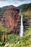 Waipoo Falls, Waimea Canyon, Kauai. Aerial view of Waipoo Falls in the Waimea Canyon on Kauai, Hawaii, USA Stock Images