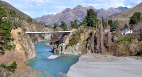 Wairou River Bridge, New Zealand. The Wairou River Bridge in North Canterbury on the road to Hanmer. Thrill seekers paradise featuring bungee jump and white Royalty Free Stock Image