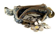 Waist bag with thai coins Stock Photos