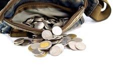 Waist bag with thai coins Stock Photo