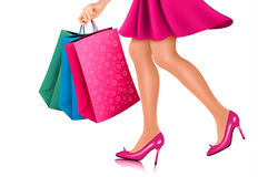 Waist-down view of shopping woman Stock Photography