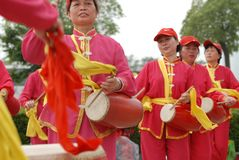 Waist drum team-extensive mass fitness programs. Opening ceremony of the first national fitness games in Jiangxi Province, April 30, 2008 in Nanchang Royalty Free Stock Image