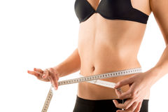 Waist measurement of girl Royalty Free Stock Photo