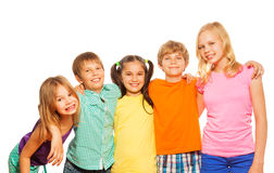 Waist up photo of five funny kids Stock Photo