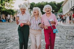 Three pretty ladies walking along the street stock image