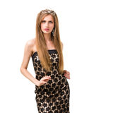 Waist-up portrait of beautiful girl with diadem Royalty Free Stock Photography