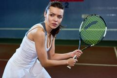 Fierce Tennis Player royalty free stock photo