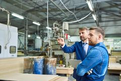 Senior Manager Touring Modern Factory royalty free stock photo