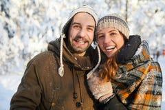 Loving Couple Enjoying Winter royalty free stock photography