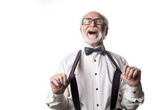 Jovial elderly man in good humor Stock Image