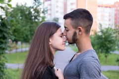 Wonderful couple posing for picture stock photo