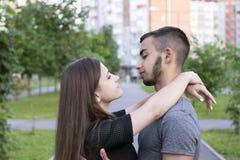 Sweet lovers on city street Stock Photo