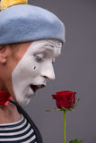 Waist-up portrait of young male mime holding a Royalty Free Stock Photos