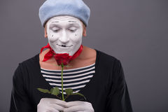 Waist-up portrait of young male mime holding a Royalty Free Stock Photography