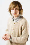 Waist up portrait of young man on light gray Royalty Free Stock Image