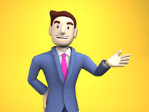 Waist Up Of Young Businessman On Yellow Background Stock Photos