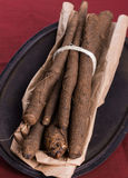 Waistband salsify on iron lid Royalty Free Stock Photography