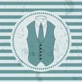 Waistcoat masculino e laço do cartão retro ilustração royalty free