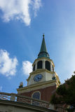 Wait Chapel Steeple at Wake Forest University. In Winston-Salem, North Carolina, USA.  The first building constructed on the Reynolda campus of Wake Forest Royalty Free Stock Images