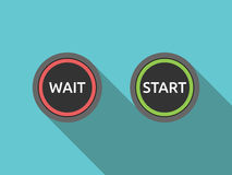 Wait and start buttons. Two buttons with words wait and start. Beginning, procrastination, resolution and decision concept. Flat design. No transparency, no Royalty Free Stock Photos