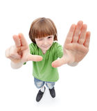 Wait there - freckled young boy looking at you Stock Photography