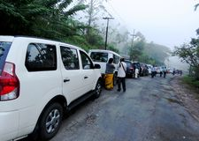 Wait to travel Jarawa Forest in Andamans. Waiting vehicles and people to move to Jarawa Forest in Andamans royalty free stock photo