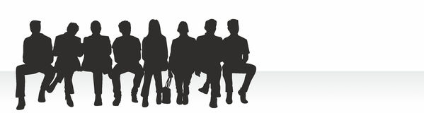 Wait. Ing room situation with silhouettes of different people Royalty Free Stock Images