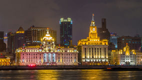 Waitan, the landmark Shanghai, night view Stock Photos