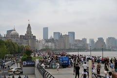 Waitandijk in Shanghai, Gebouwen op de dijk stock afbeeldingen