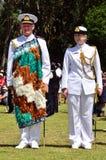 Waitangi Day and Festival - New Zealand Public Holiday 2013. WAITANGI - FEB 6:Chief of Navy Admiral Jack Steer (L) on Waitangi Day on February 6 2013 in Waitangi stock photography