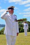 Waitangi Day and Festival - New Zealand Public Holiday 2013. WAITANGI - FEB 6:Royal NZ Navy officers officers salute on Waitangi Day on February 6 2013 in royalty free stock photo