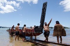 Waitangi Day and Festival - New Zealand Public Holiday 2013. WAITANGI - FEB 6:Maori warriors launch a war canoe during Waitangi Day on February 6 2013 in stock image