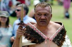 Waitangi Day and Festival - New Zealand Public Holiday 2013. WAITANGI - FEB 6:Maori Chief perform Haka dance during Waitangi Day on February 6 2013 in Waitangi royalty free stock image