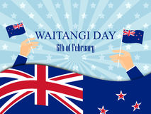 Waitangi day. Hand holds a New Zealand flag, independence day. Vector Royalty Free Stock Image