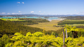 Waitangi, New Zealand. View from Mount Bledisloe lookout, Waitangi, Bay of Islands, Paihia, Northland, New Zealand stock photo
