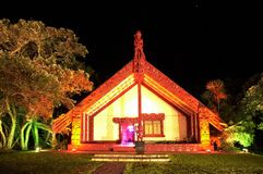 Waitangi pone a tierra Marae imagen de archivo
