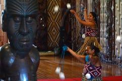 Waitangi Treaty Grounds. WAITANGI, NZ - FEB 06:Maori women dance with poi-balls during Waitangi Day on February 6 2014.It's a New Zealand public holiday to Stock Images