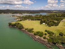 Waitangi Treaty Grounds Aerial View. Small New Zealand town in the bay of islands, paihia is close the waitangi treaty grounds and is a popular holiday Royalty Free Stock Photo