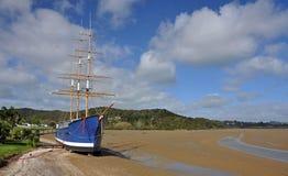 Waitangi Treaty Grounds, New Zealand. Boat moored at Waitangi, new Zealand stock images
